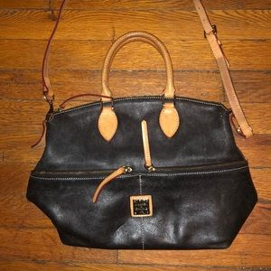 Dooney & Bourke black leather satchel brown strap